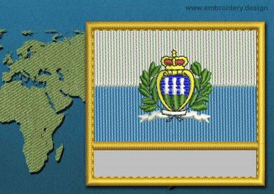 This Flag of San Marino (With Crest) Customizable Text  with a Gold border design was digitized and embroidered by www.embroidery.design.