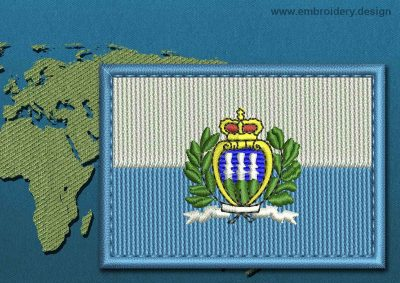 This Flag of San Marino (With Crest) Rectangle with a Colour Coded border design was digitized and embroidered by www.embroidery.design.