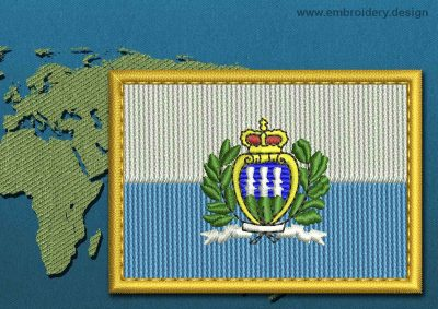 This Flag of San Marino (With Crest) Rectangle with a Gold border design was digitized and embroidered by www.embroidery.design.