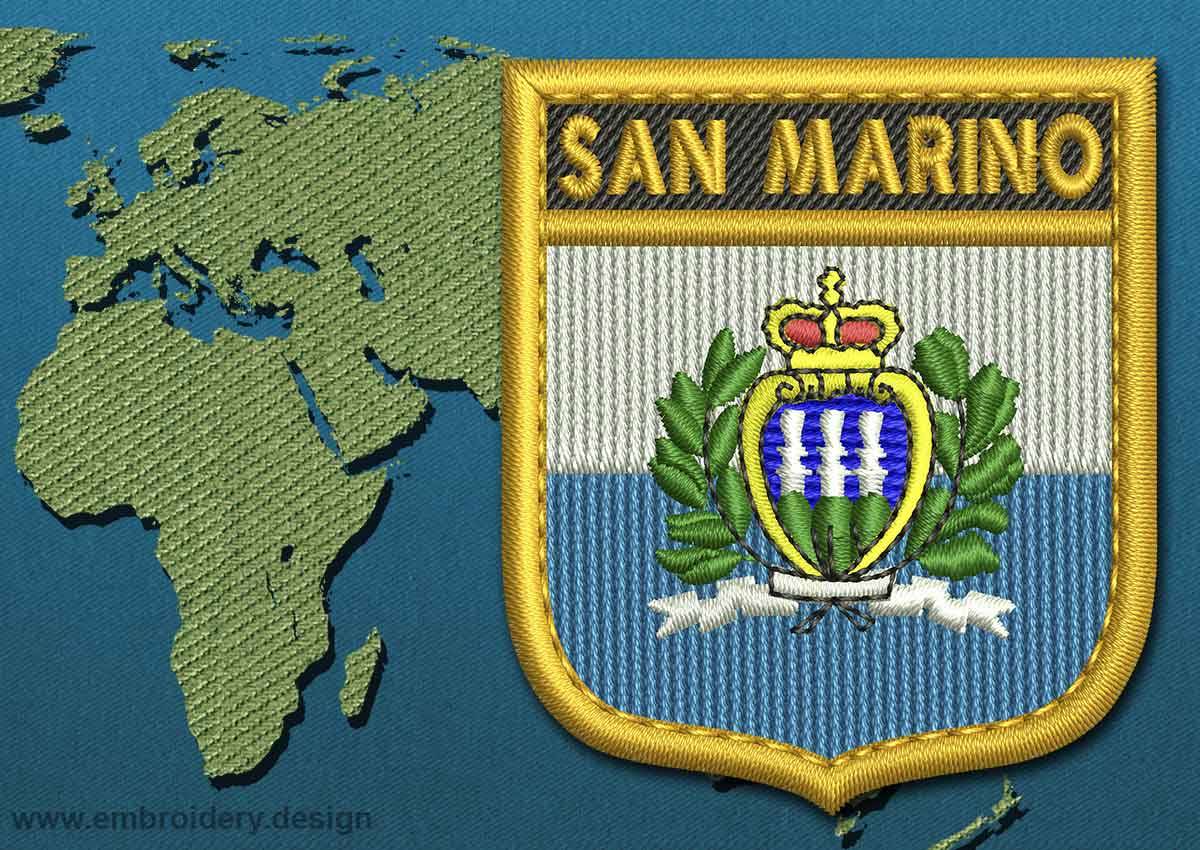 San Marino (With Crest) Shield Flag Embroidery design with a Gold Border