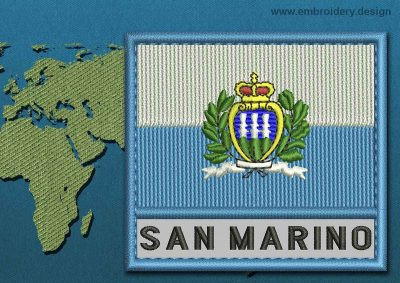 This Flag of San Marino (With Crest) Text with a Colour Coded border design was digitized and embroidered by www.embroidery.design.