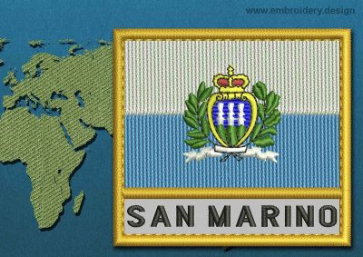 This Flag of San Marino (With Crest) Text with a Gold border design was digitized and embroidered by www.embroidery.design.