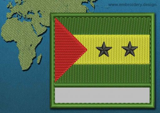 This Flag of Sao Tome and Principe Customizable Text  with a Colour Coded border design was digitized and embroidered by www.embroidery.design.