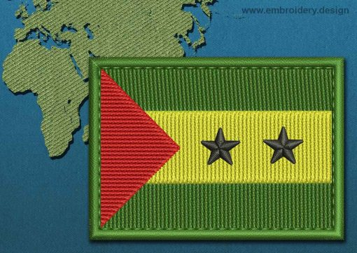 This Flag of Sao Tome and Principe Rectangle with a Colour Coded border design was digitized and embroidered by www.embroidery.design.