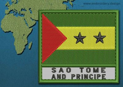 This Flag of Sao Tome and Principe Text with a Colour Coded border design was digitized and embroidered by www.embroidery.design.