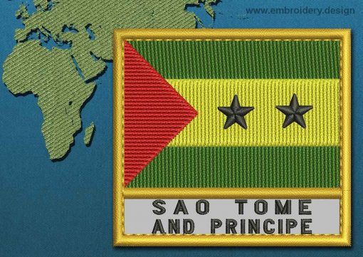 This Flag of Sao Tome and Principe Text with a Gold border design was digitized and embroidered by www.embroidery.design.