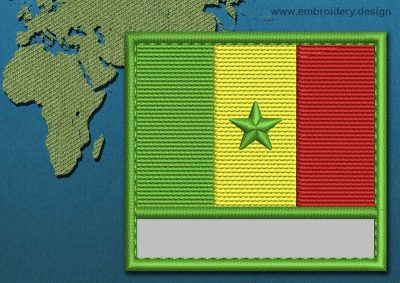 This Flag of Senegal Customizable Text  with a Colour Coded border design was digitized and embroidered by www.embroidery.design.