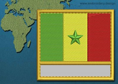 This Flag of Senegal Customizable Text  with a Gold border design was digitized and embroidered by www.embroidery.design.