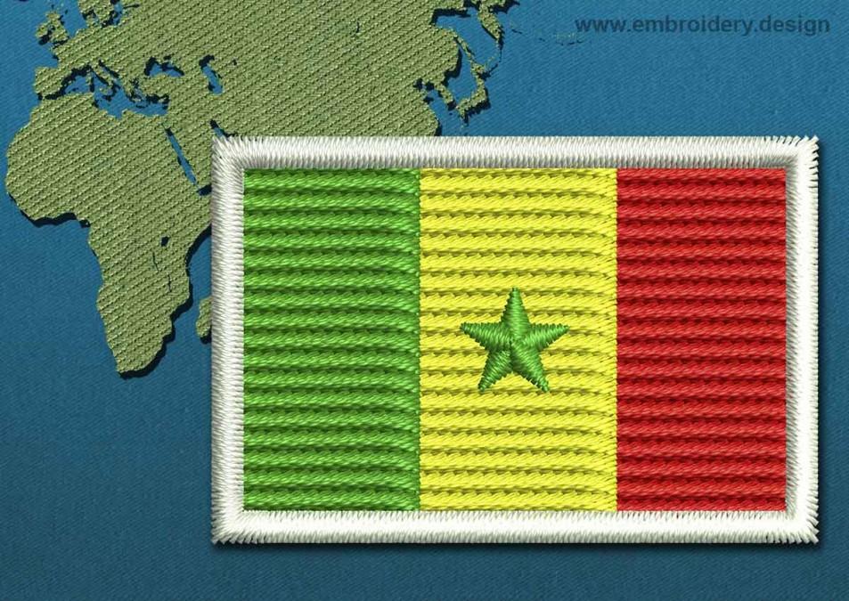 Senegal Mini Flag with a Colour Coded Border