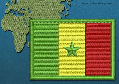 This Flag of Senegal Rectangle with a Colour Coded border design was digitized and embroidered by www.embroidery.design.
