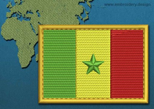 This Flag of Senegal Rectangle with a Gold border design was digitized and embroidered by www.embroidery.design.