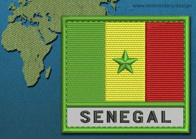 This Flag of Senegal Text with a Colour Coded border design was digitized and embroidered by www.embroidery.design.