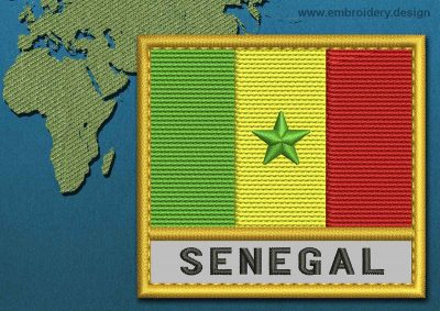 This Flag of Senegal Text with a Gold border design was digitized and embroidered by www.embroidery.design.