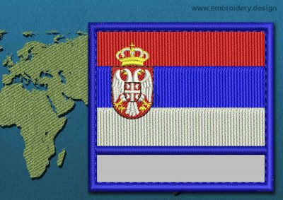 This Flag of Serbia Customizable Text  with a Colour Coded border design was digitized and embroidered by www.embroidery.design.