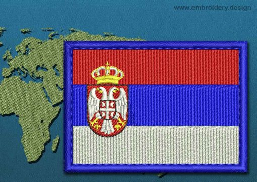 This Flag of Serbia Rectangle with a Colour Coded border design was digitized and embroidered by www.embroidery.design.