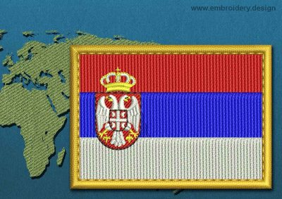 This Flag of Serbia Rectangle with a Gold border design was digitized and embroidered by www.embroidery.design.