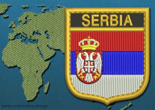 This Flag of Serbia Shield with a Gold border design was digitized and embroidered by www.embroidery.design.