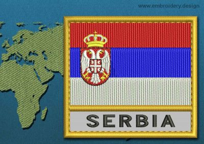 This Flag of Serbia Text with a Gold border design was digitized and embroidered by www.embroidery.design.
