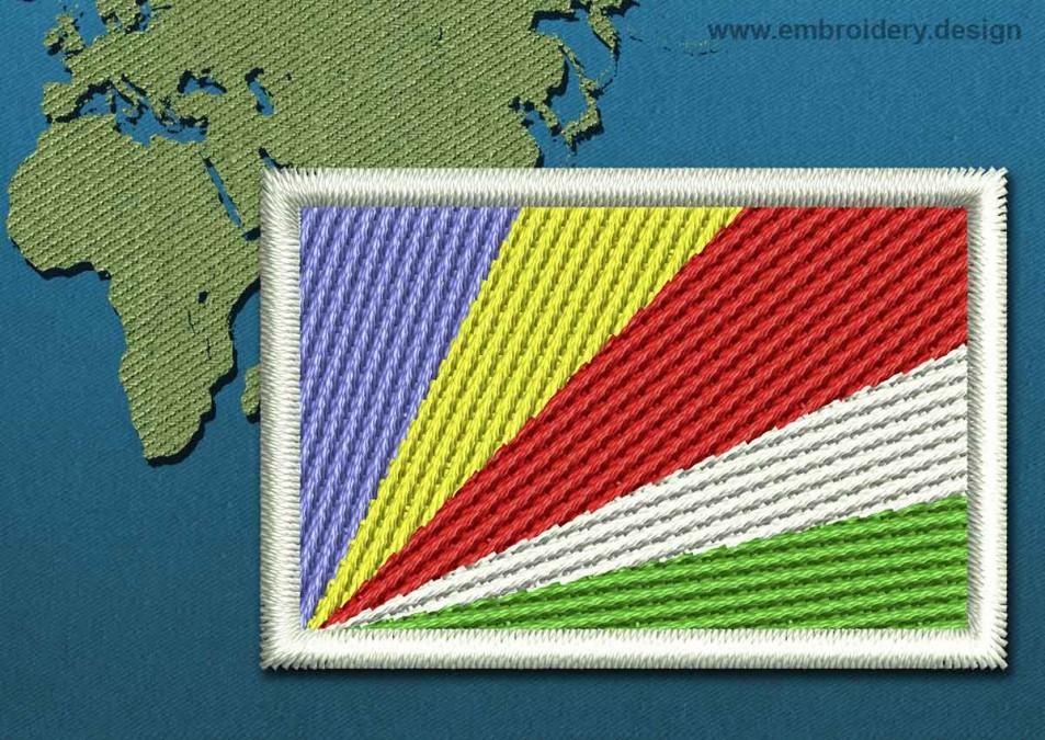 Seychelles Mini Flag with a Colour Coded Border