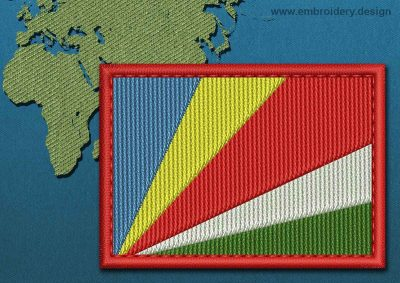 This Flag of Seychelles Rectangle with a Colour Coded border design was digitized and embroidered by www.embroidery.design.