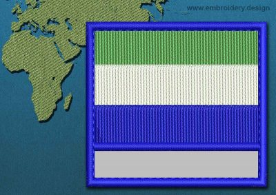 This Flag of Sierra Leone Customizable Text  with a Colour Coded border design was digitized and embroidered by www.embroidery.design.