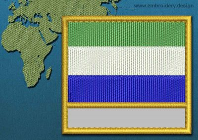 This Flag of Sierra Leone Customizable Text  with a Gold border design was digitized and embroidered by www.embroidery.design.