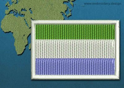 This Flag of Sierra Leone Mini with a Colour Coded border design was digitized and embroidered by www.embroidery.design.