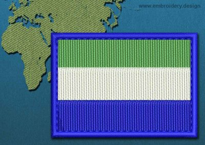 This Flag of Sierra Leone Rectangle with a Colour Coded border design was digitized and embroidered by www.embroidery.design.