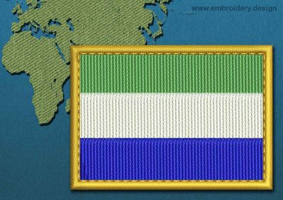 This Flag of Sierra Leone Rectangle with a Gold border design was digitized and embroidered by www.embroidery.design.