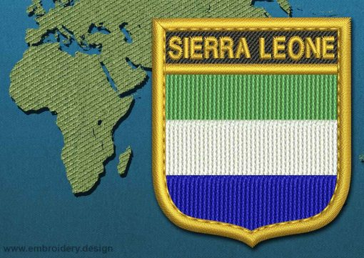 This Flag of Sierra Leone Shield with a Gold border design was digitized and embroidered by www.embroidery.design.