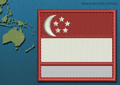 This Flag of Singapore Customizable Text  with a Colour Coded border design was digitized and embroidered by www.embroidery.design.