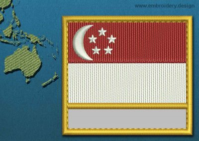 This Flag of Singapore Customizable Text  with a Gold border design was digitized and embroidered by www.embroidery.design.