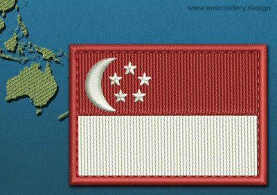 This Flag of Singapore Rectangle with a Colour Coded border design was digitized and embroidered by www.embroidery.design.