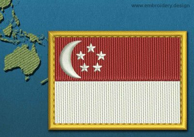 This Flag of Singapore Rectangle with a Gold border design was digitized and embroidered by www.embroidery.design.