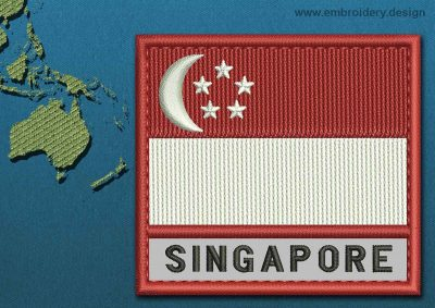 This Flag of Singapore Text with a Colour Coded border design was digitized and embroidered by www.embroidery.design.