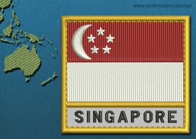 This Flag of Singapore Text with a Gold border design was digitized and embroidered by www.embroidery.design.