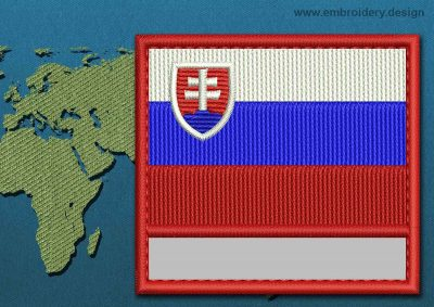 This Flag of Slovakia Customizable Text  with a Colour Coded border design was digitized and embroidered by www.embroidery.design.