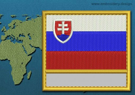 This Flag of Slovakia Customizable Text  with a Gold border design was digitized and embroidered by www.embroidery.design.
