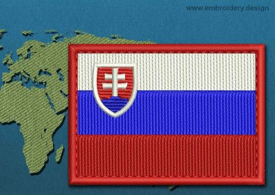 This Flag of Slovakia Rectangle with a Colour Coded border design was digitized and embroidered by www.embroidery.design.