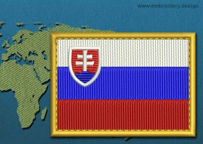 This Flag of Slovakia Rectangle with a Gold border design was digitized and embroidered by www.embroidery.design.