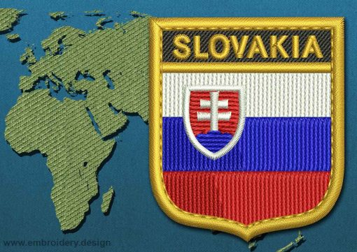 This Flag of Slovakia Shield with a Gold border design was digitized and embroidered by www.embroidery.design.