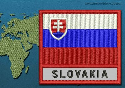 This Flag of Slovakia Text with a Colour Coded border design was digitized and embroidered by www.embroidery.design.