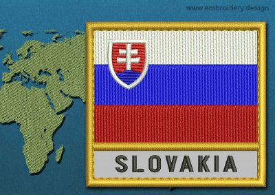 This Flag of Slovakia Text with a Gold border design was digitized and embroidered by www.embroidery.design.