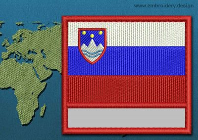 This Flag of Slovenia Customizable Text  with a Colour Coded border design was digitized and embroidered by www.embroidery.design.