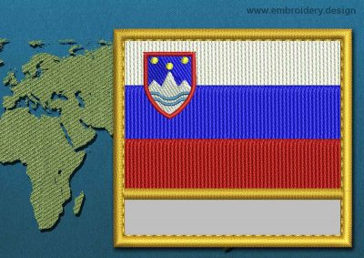 This Flag of Slovenia Customizable Text  with a Gold border design was digitized and embroidered by www.embroidery.design.