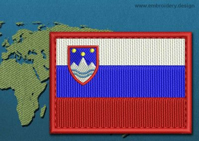 This Flag of Slovenia Rectangle with a Colour Coded border design was digitized and embroidered by www.embroidery.design.