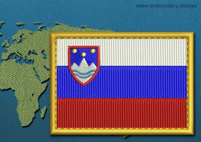This Flag of Slovenia Rectangle with a Gold border design was digitized and embroidered by www.embroidery.design.