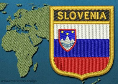 This Flag of Slovenia Shield with a Gold border design was digitized and embroidered by www.embroidery.design.