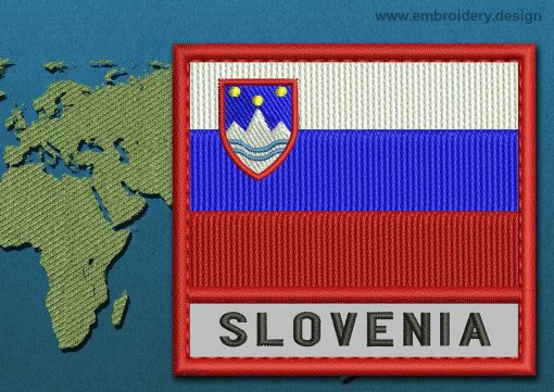 This Flag of Slovenia Text with a Colour Coded border design was digitized and embroidered by www.embroidery.design.