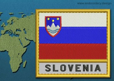 This Flag of Slovenia Text with a Gold border design was digitized and embroidered by www.embroidery.design.